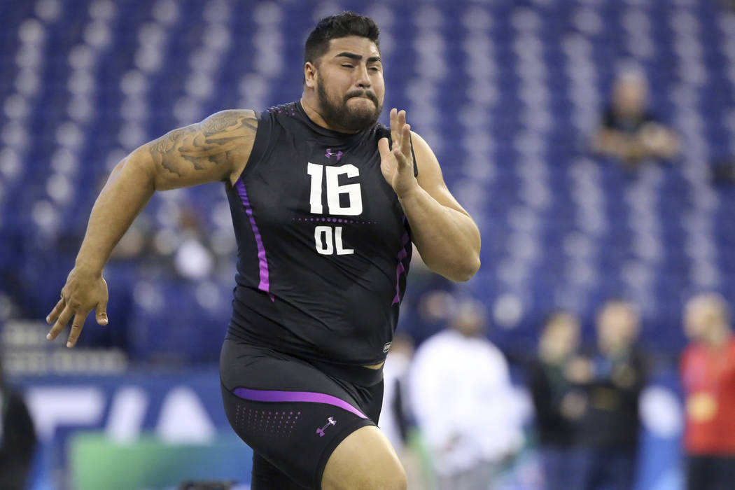 UTEP offensive lineman Will Hernandez participates in the 40-yard dash at the 2018 NFL Scouting Combine on Friday, March 2, 2018, in Indianapolis. (AP Photo/Gregory Payan)