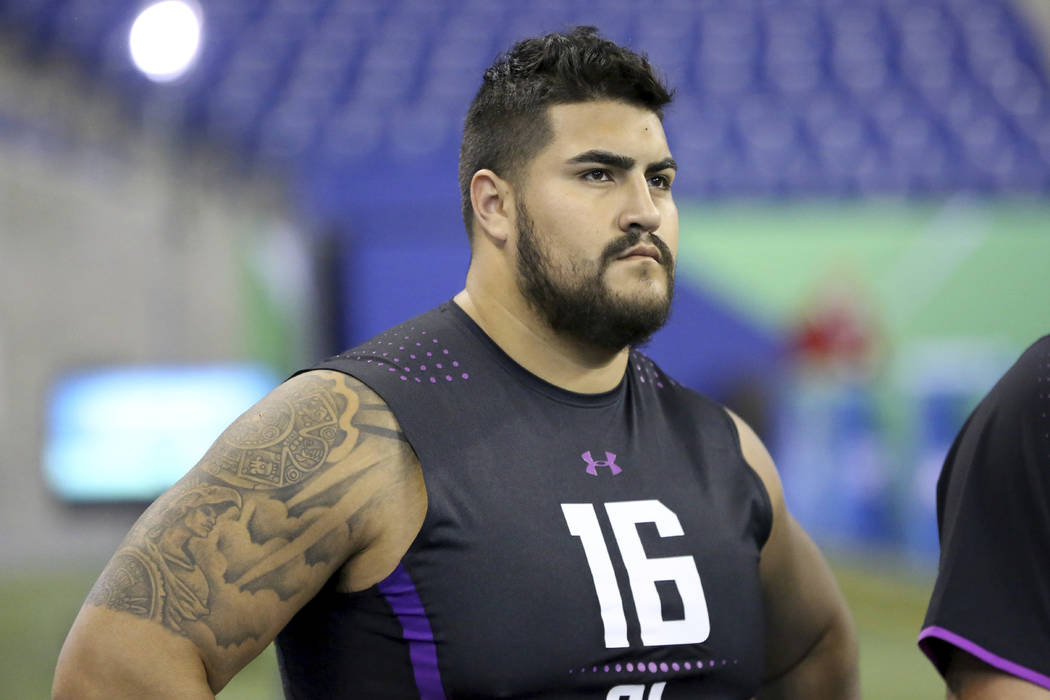 UTEP offensive lineman Will Hernandez is seen before a drill at the 2018 NFL Scouting Combine on Friday, March 2, 2018, in Indianapolis. (AP Photo/Gregory Payan)