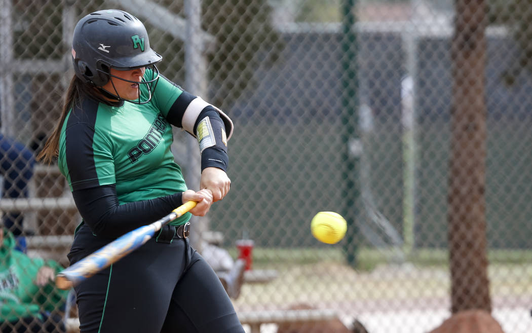 Palo Verde's Samantha Wade bats against Centennial during a softball game at Palo Verde High School in Las Vegas on Thursday, April 19, 2018. Richard Brian Las Vegas Review-Journal @vegasphotograph