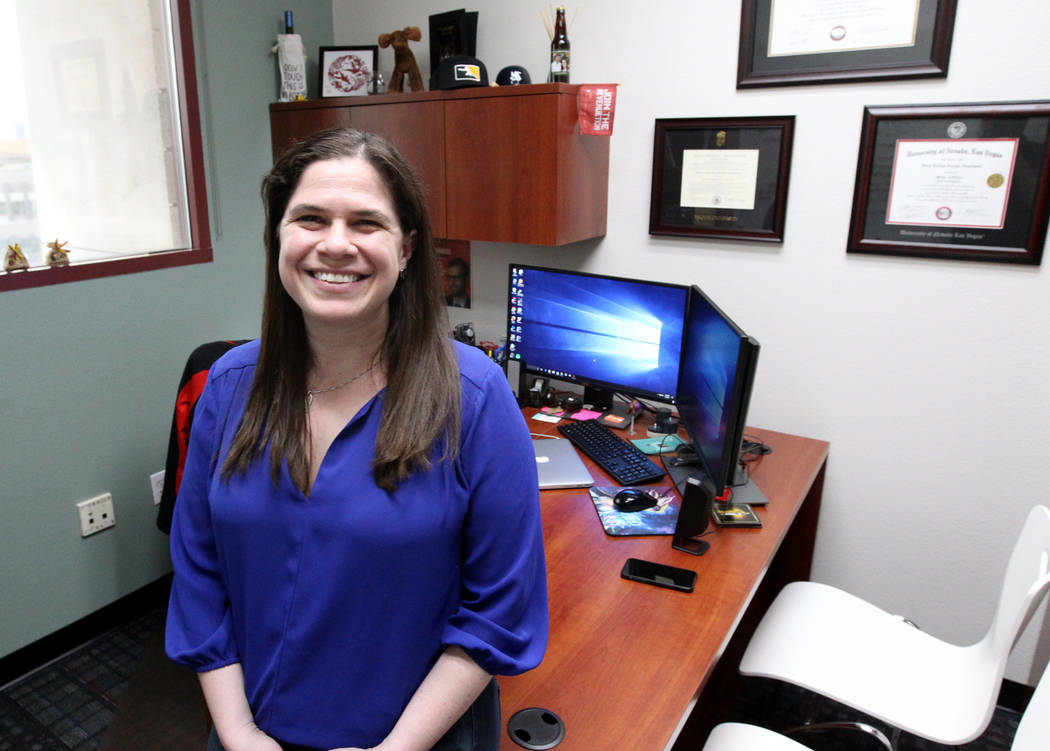 Brett Abarbanel, director of research at UNLV International Gaming Institute, at her office Friday, April 6, 2018. Abarbanel is directing research on the GameSense problem gambling program that ha ...