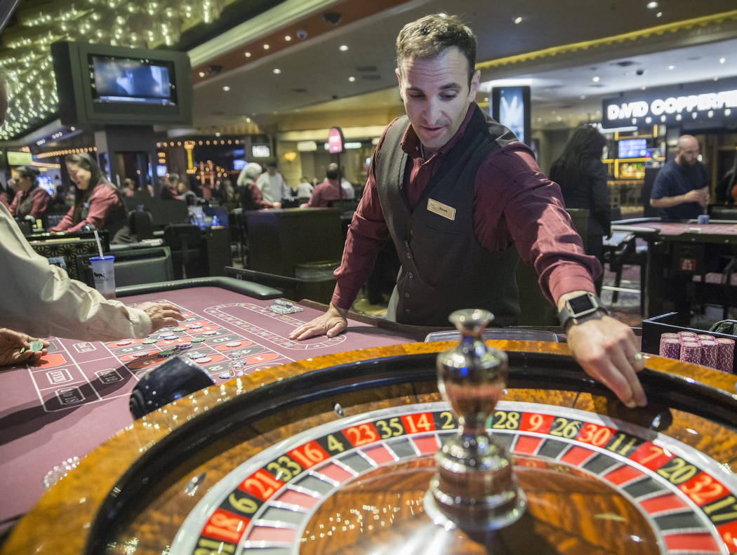Roulette dealer Derek Hoffman places bets at the MGM Grand hotel-casino on Thursday, April 19, 2018, in Las Vegas. Benjamin Hager Las Vegas Review-Journal @benjaminhphoto