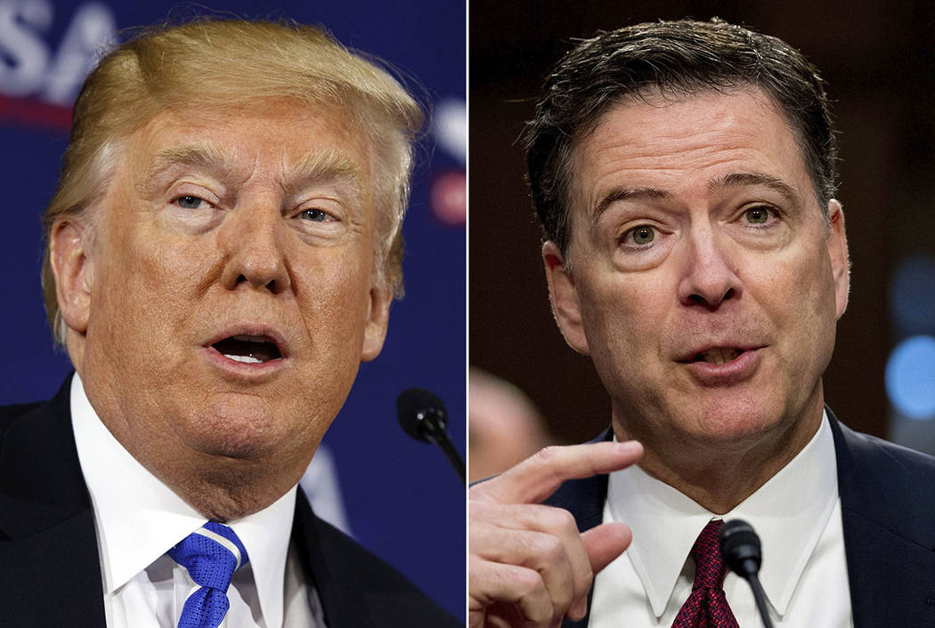This combination photo shows President Donald Trump and former FBI director James Comey. (AP Photo/Evan Vucci, left, and Andrew Harnik)