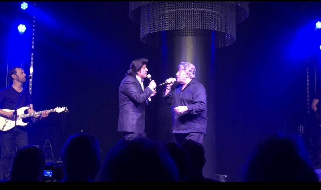 Vinny Adinolfi, left, and Tony Orlando are shown at Adinofi's 60th birthday performance at Windows Showroom on Thursday, April 19, 2018. (John Katsilometes/Las Vegas Review-Journal) @JohnnyKats