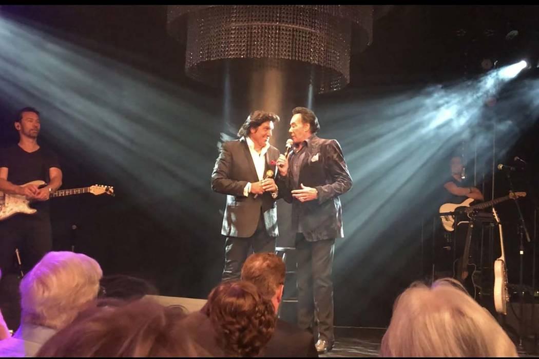 Vinny Adinolfi, left, and Wayne Newton are shown at Adinofi's 60th birthday performance at Windows Showroom on Thursday, April 19, 2018. (John Katsilometes/Las Vegas Review-Journal) @JohnnyKats