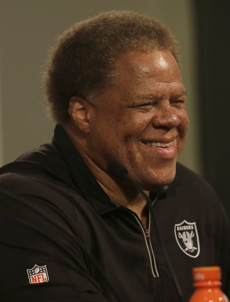 Oakland Raiders general manager Reggie McKenzie speaks at a news conference in Oakland, Calif., Friday, June 23, 2017. (AP Photo/Jeff Chiu)