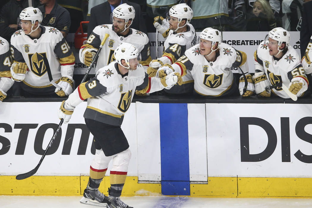 Golden Knights defenseman Brayden McNabb (3) celebrates his goal against the Los Angeles Kings during the second period of Game 4 of an NHL hockey first-round playoff series at the Staples Center ...