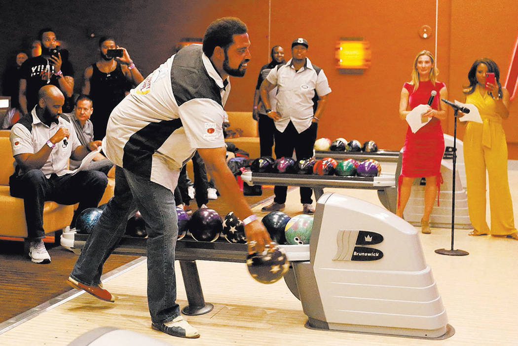 NFL Hall of Fame Jonathan Ogden goes bowling during the Ogden Celebrity Bowl at Red Rock Lanes in Las Vegas, Sunday, April 22, 2018. Ogden and his friends come together on Sunday to support the Og ...