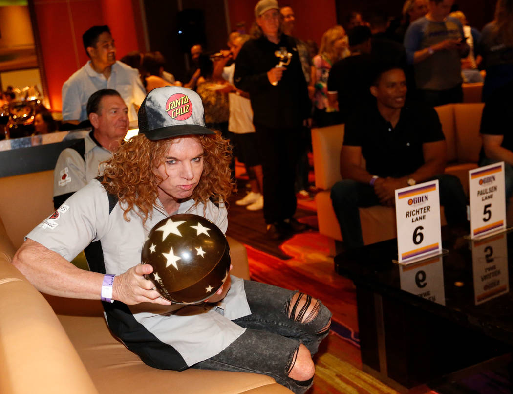 Comedian Carrot Top during the Ogden Celebrity Bowl at Red Rock Lanes in Las Vegas, Sunday, April 22, 2018. Pro Football Hall of Fame member Jonathan Ogden and his friends come together on Sun ...