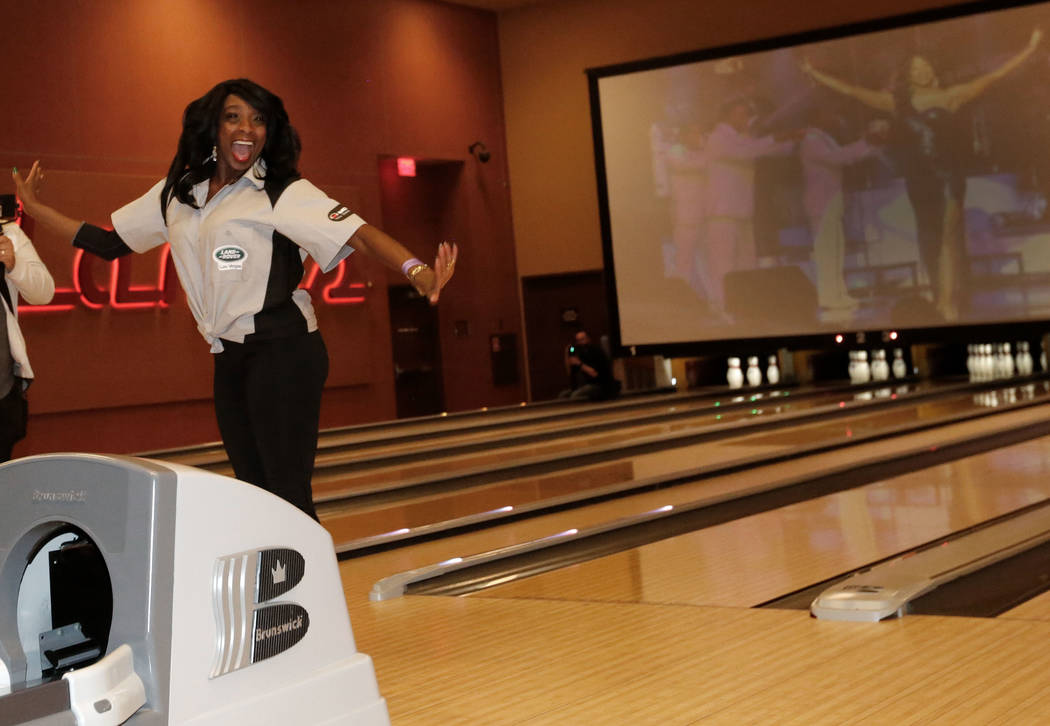 Jin Jin Reeves, singer/actress, reacts during the Ogden Celebrity Bowl at Red Rock Lanes in Las Vegas, Sunday, April 22, 2018. ProFootballHallofFamemember Jonathan Ogden and his friends ...