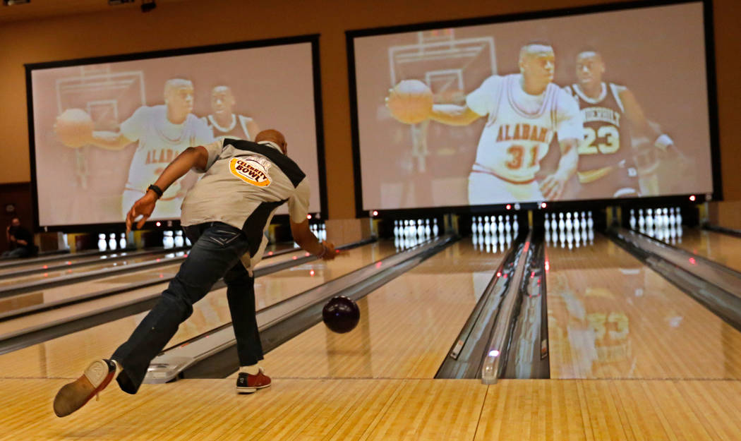 "James ""Hollywood"" Robinson, former NBA player, makes a shot during the Ogden Celebrity Bowl at Red Rock Lanes in Las Vegas, Sunday, April 22, 2018. Pro Football Hall of Fame member Jonathan O ..."
