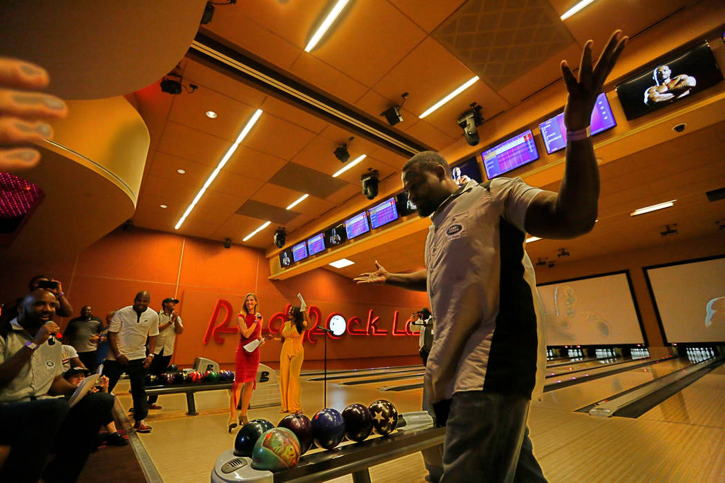 Hasim Rahman, former boxing champion, reacts during the Ogden Celebrity Bowl at Red Rock Lanes in Las Vegas, Sunday, April 22, 2018. ProFootballHallofFamemember Jonathan Ogden and his fr ...