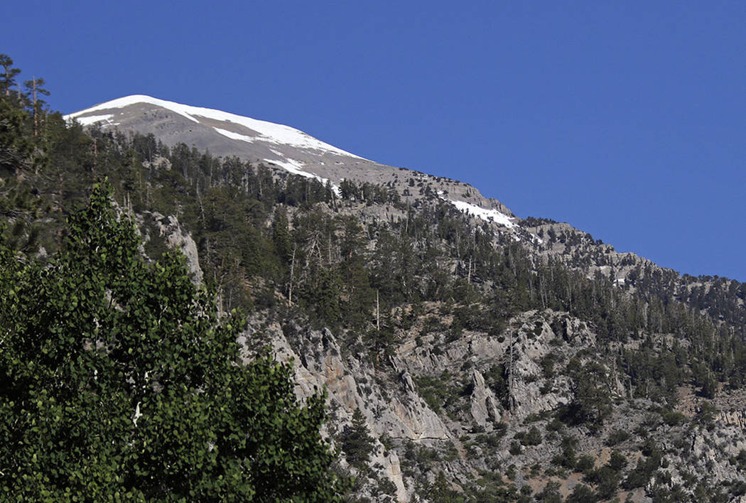 Mount Charleston peak with some lingering snow, Friday, June 2, 2017. (Las Vegas Review-Journal)