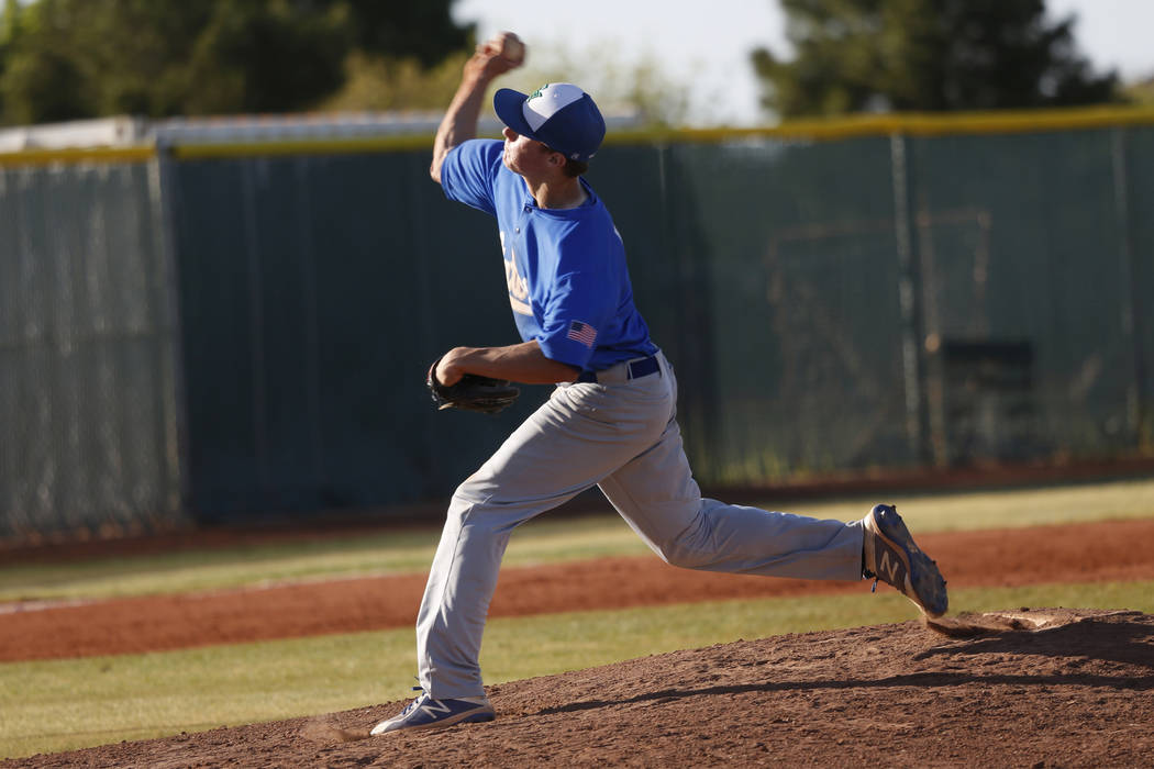Green Valley's Garrett Nelson (4) pitches against Liberty during the seventh inning of the baseball game at Liberty High School in Henderson, Friday, April 20, 2018. Erik Verduzco Las Vegas Review ...