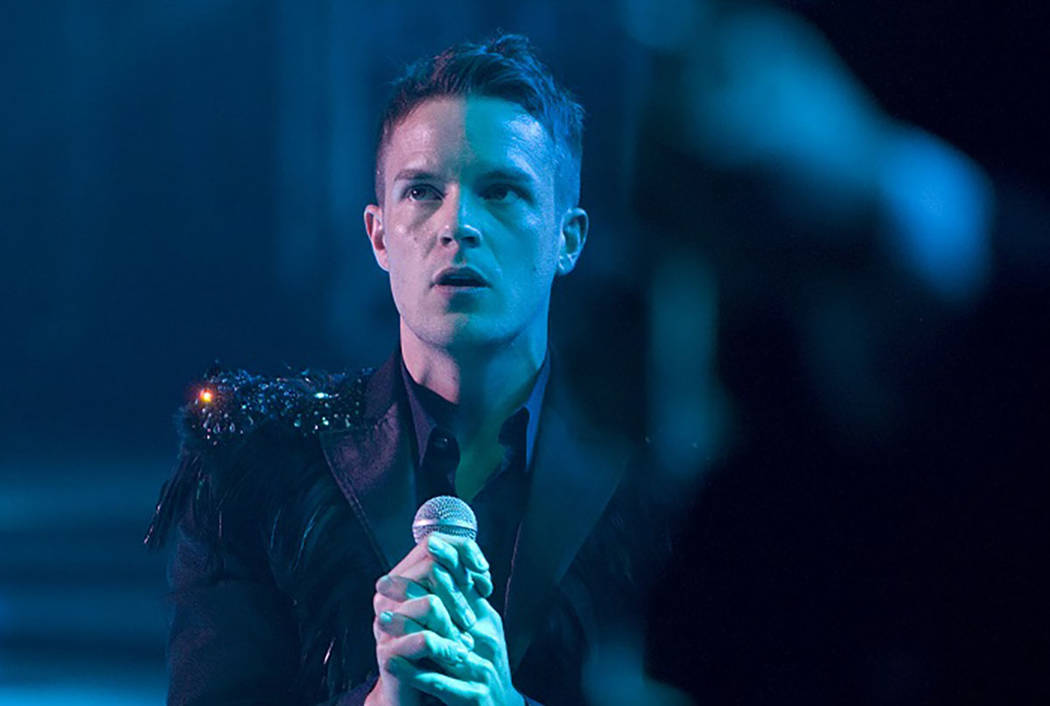 Brandon Flowers of The Killers performs with the band to a sold-out crowd during the opening night of The Joint at the Hard Rock Hotel and Casino in Las Vegas Friday, April 17, 2009. (Las Vegas Re ...