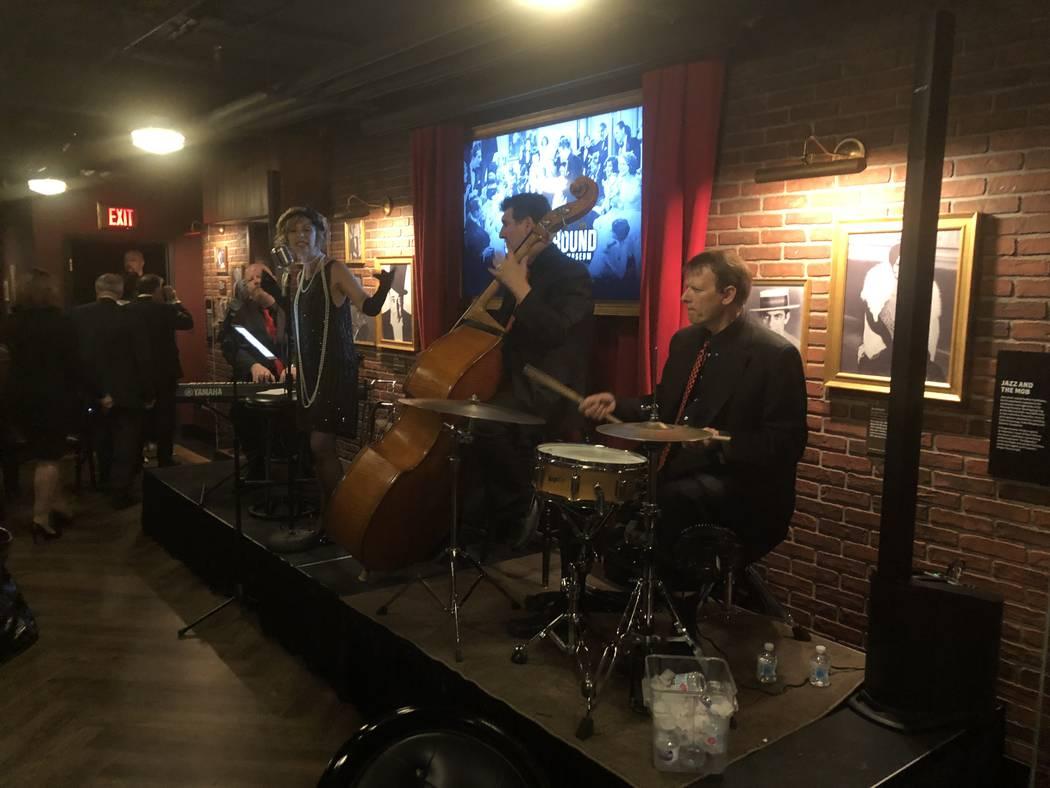 Joe Spraker, Lisa Rogers Smith, Bob Sachs and Mike Mechem perform at Underground at The Mob Museum on Thursday, April 19, 2018. (John Katsilometes/Las Vegas Review-Journal) @JohnnyKats