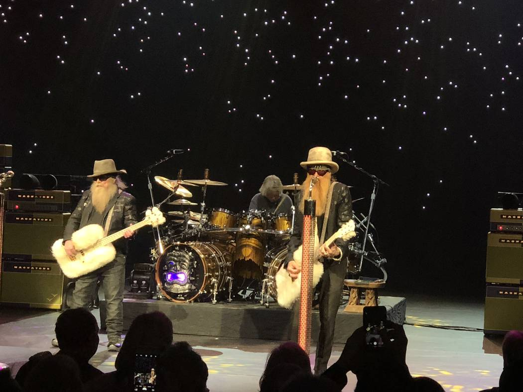 Dusty Hill, left and Billy Gibbons of ZZ Top are shown at The Venetian Theater on Friday, April 20, 2018. (John Katsilometes/Las Vegas Review-Journal). @JohnnyKats