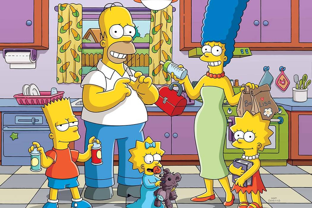 Bart, Homer, Maggie and Marge : L-R: Bart, Homer, Maggie, Marge and Lisa made their debut on Dec. 17, 1989. (Twentieth Century Fox)