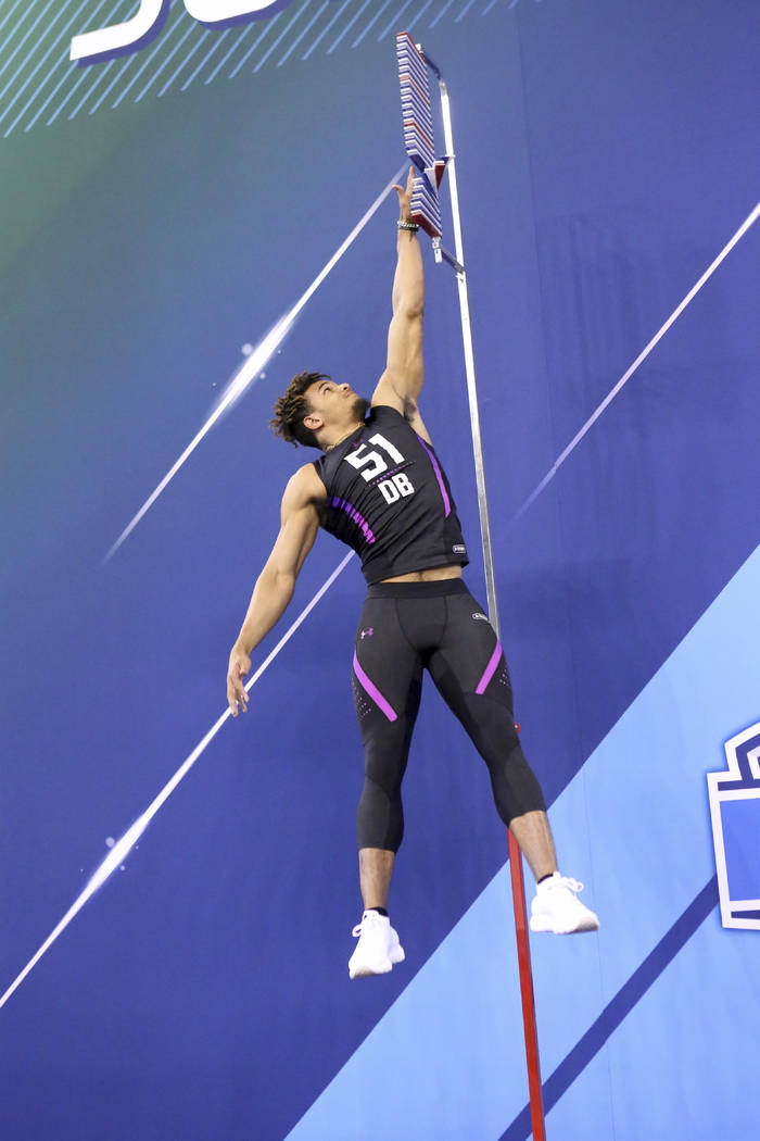 Alabama defensive back Minkah Fitzpatrick competes in the Vertical Jump at the 2018 NFL Scouting Combine on Monday, March 5, 2018, in Indianapolis. (AP Photo/Gregory Payan)