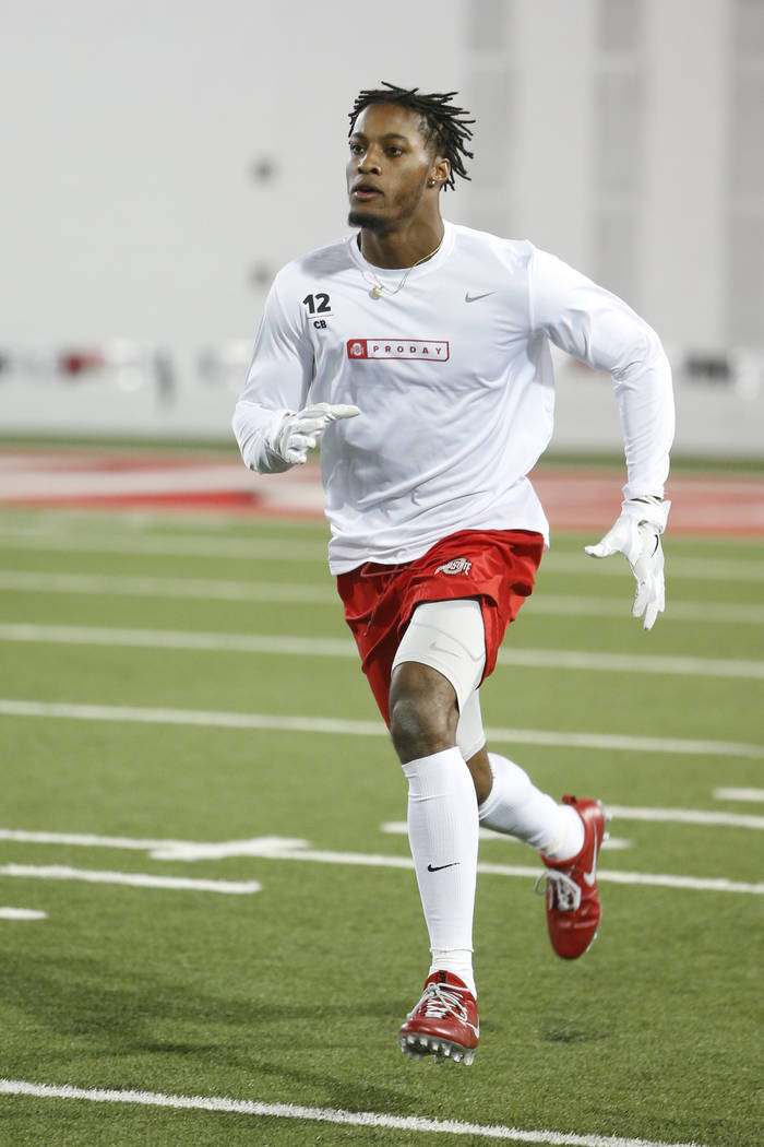 Defensive back Denzel Ward runs a drill during Ohio State's NFL Pro Day Thursday, March 22, 2018, in Columbus, Ohio. (AP Photo/Jay LaPrete)