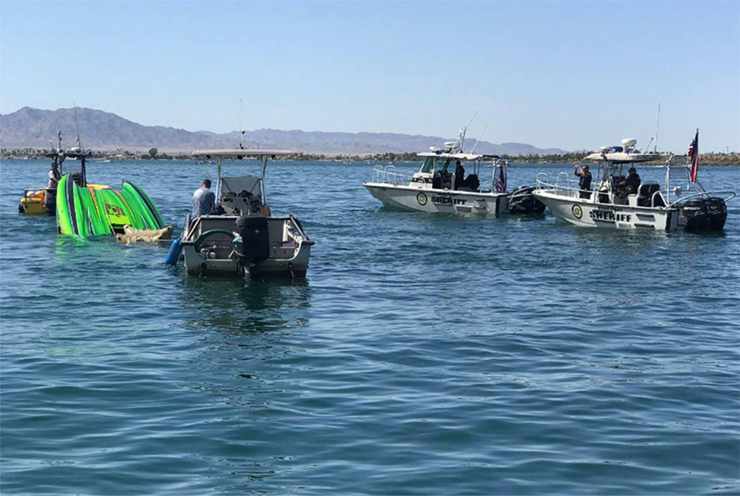 A DCB M35 Widebody boat crashed Saturday in the south basin of Lake Havasu in Arizona (Mohave County Sheriff's Office/Facebook)