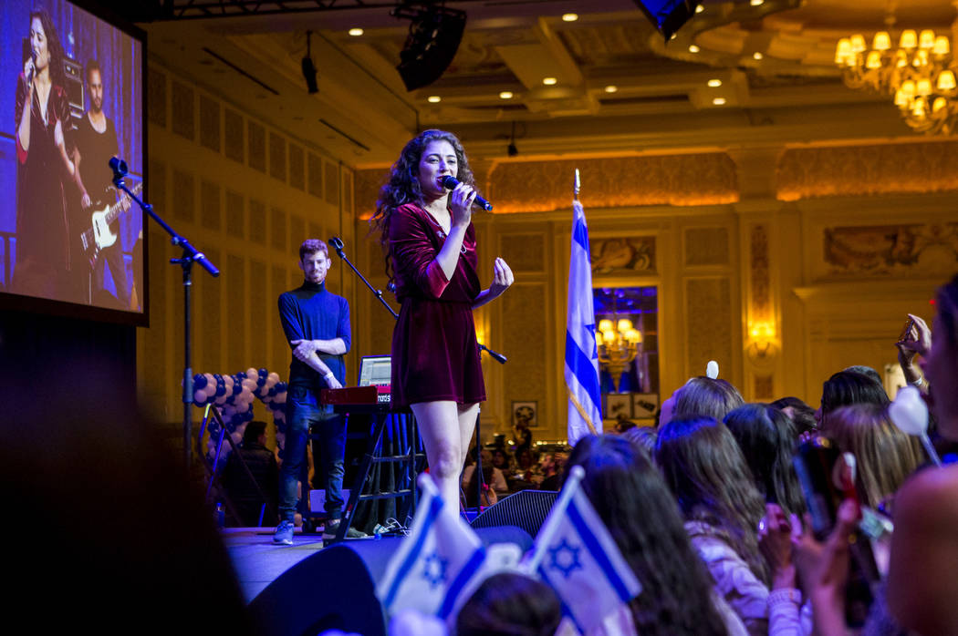 Israeli singer Roni Dalumi performs during the Celebrate Israel Day Festival to celebrate Israel's 70th Independence Day at the Palazzo Ballroom in The Venetian on Sunday, April 22, 2018. Patric ...