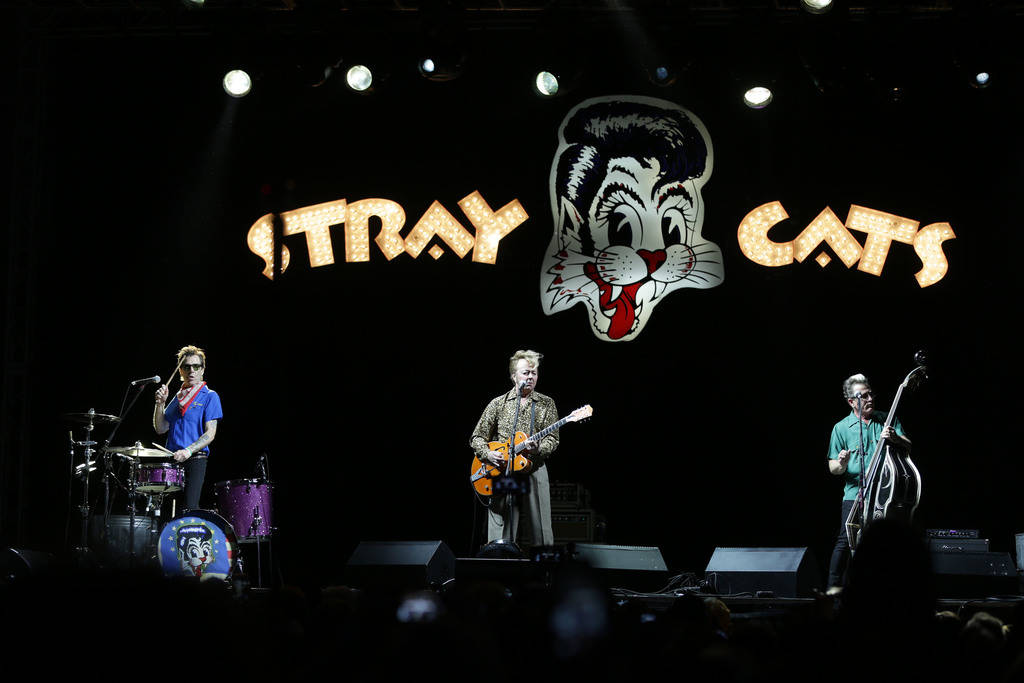 The Stray Cats perform at the 21st Annual Viva Las Vegas Rockabilly Weekend car show at the Orleans hotel and casino on Saturday, April 21, 2018. Michael Quine/Las Vegas Review-Journal @Vegas88s