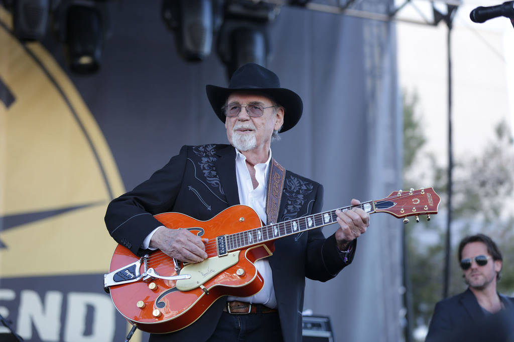 Duane Eddy performs to a crowd of thousands at the 21st Annual Viva Las Vegas Rockabilly Weekend car show at the Orleans hotel and casino on Saturday, April 21, 2018. (Michael Quine/Las Vegas Revi ...