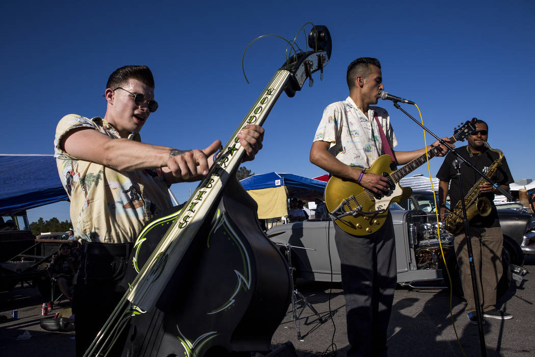 A band called The Centuries, including Zander Griffith of the Rayford Bros, left, Bert Avalos, center, and Nigel Stoll, right, perform at Viva Las Vegas at The Orleans on Saturday, April 21, 2018. ...