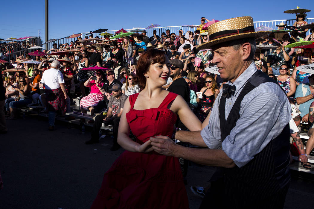 Katrina Kroetch and Scotty Hopkins, both visiting from California, dance to rockabilly music at Viva Las Vegas at The Orleans on Saturday, April 21, 2018. Patrick Connolly Las Vegas Review-Journ ...