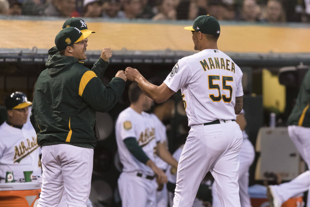 Oakland Athletics starting pitcher Sean Manaea (55) heads in to the dugout after pitching against the Boston Red Sox in the seventh inning of a baseball game in Oakland, Calif., Saturday, April 21 ...