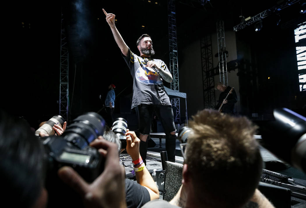 A Day to Remember frontman Jeremy McKinnon performs on day one of the second annual Las Rageous rock festival at the Downtown Las Vegas Events Center on Friday, April 20, 2018. Richard Brian Las V ...