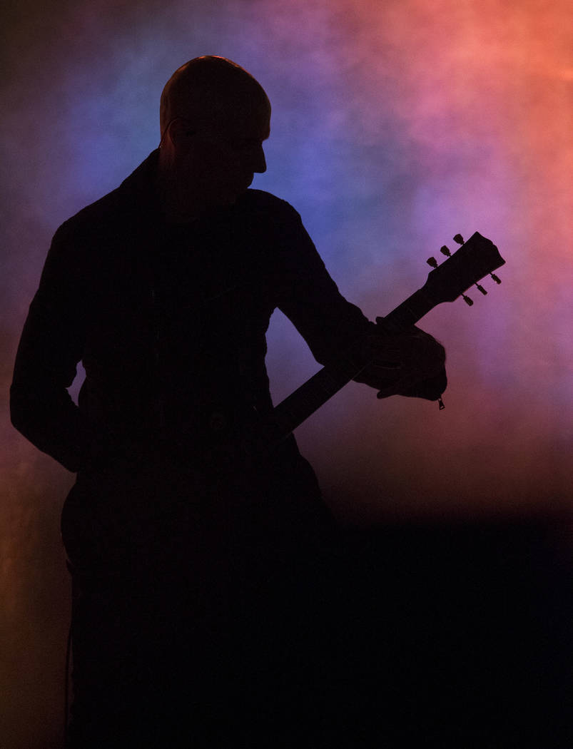 A Perfect Circle guitarist Billy Howerdel performs on day one of the second annual Las Rageous rock festival at the Downtown Las Vegas Events Center on Friday, April 20, 2018. Richard Brian Las Ve ...