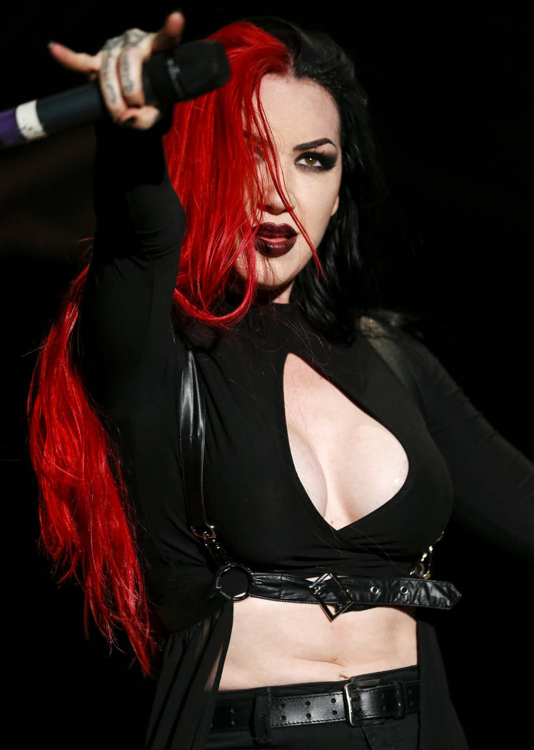 New Years Day frontwoman Ashley Costello performs on day one of the second annual Las Rageous rock festival at the Downtown Las Vegas Events Center on Friday, April 20, 2018. Richard Brian Las Veg ...