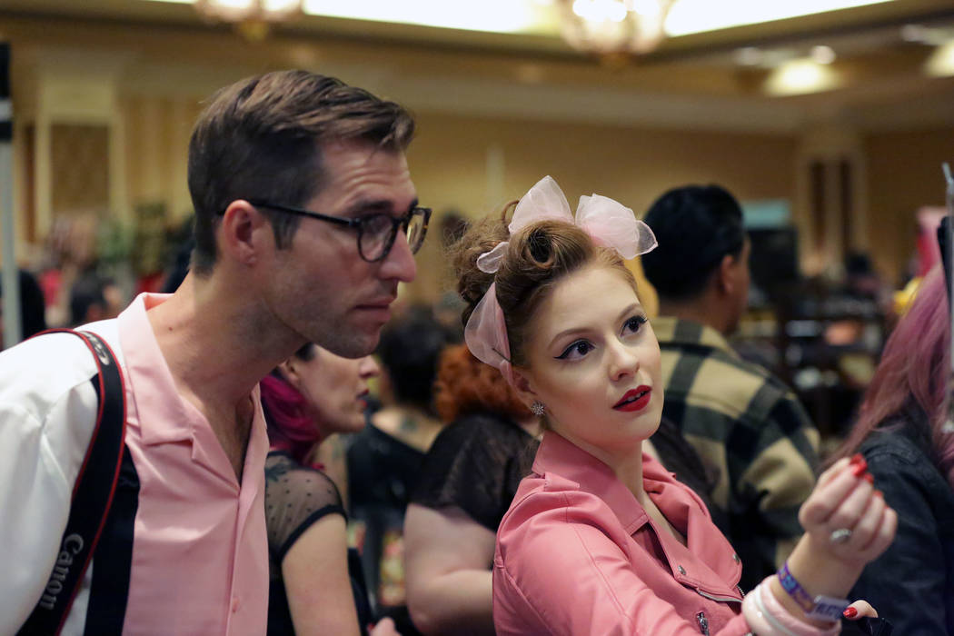 Kelly Ԕhe Flying PinupՠForbes, right, and Nick Maddocks from Australia, check out goods from some of the vendors at the 21st Annual Viva Las Vegas Rockabilly Weekend at the Orleans hot ...