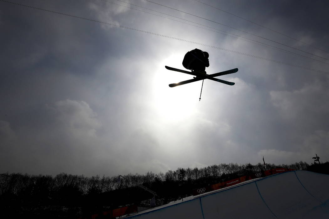 David Wise, of the United States, jumps during a training run prior to the men's halfpipe finals at Phoenix Snow Park at the 2018 Winter Olympics in Pyeongchang, South Korea, Thursday, Feb. 2 ...