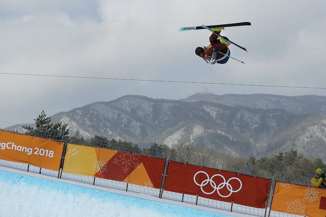 David Wise, of the United States, jumps during the men's halfpipe finals at Phoenix Snow Park at the 2018 Winter Olympics in Pyeongchang, South Korea, Thursday, Feb. 22, 2018. (AP Photo/Grego ...