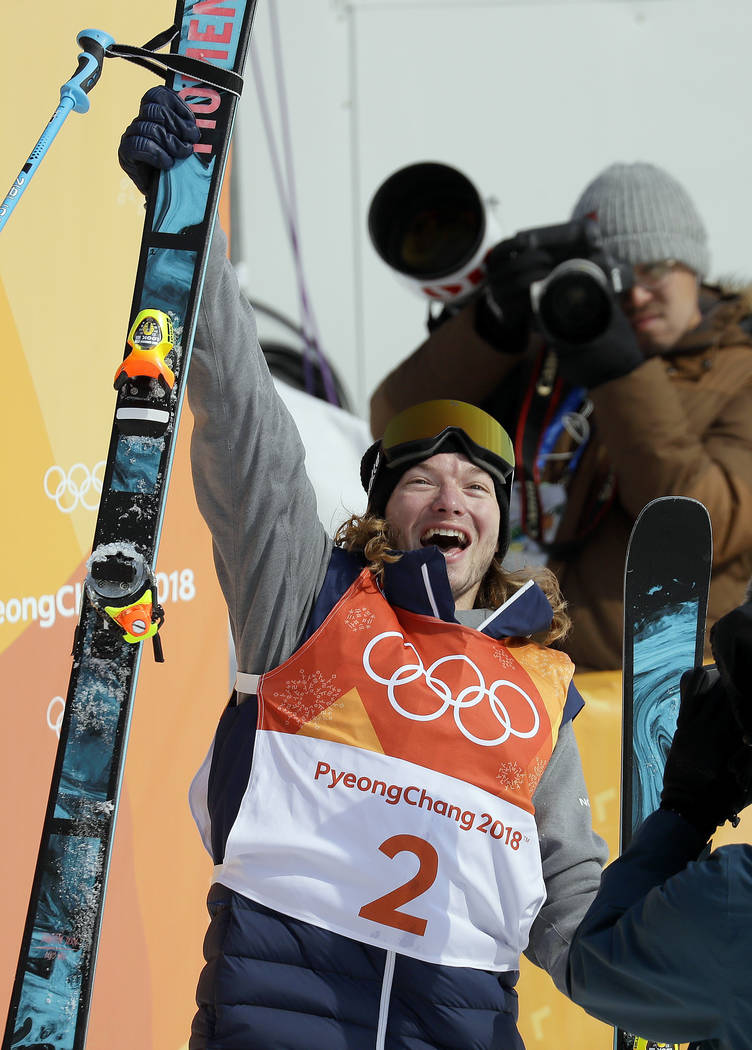 Gold medal winner David Wise, of the United States, celebrates after the men's halfpipe finals at Phoenix Snow Park at the 2018 Winter Olympics in Pyeongchang, South Korea, Thursday, Feb. 22, ...