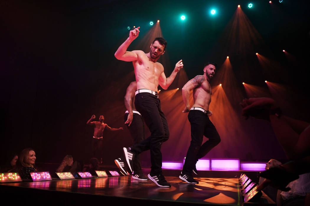 """Dancer Tony Dovolani (C) from """"Dancing With The Stars"""" performs in Chippendales at Rio All-Suite Hotel & Casino on April 20, 2018 in Las Vegas. (Photo by Denise Truscello/Getty Images for Chippen ..."""
