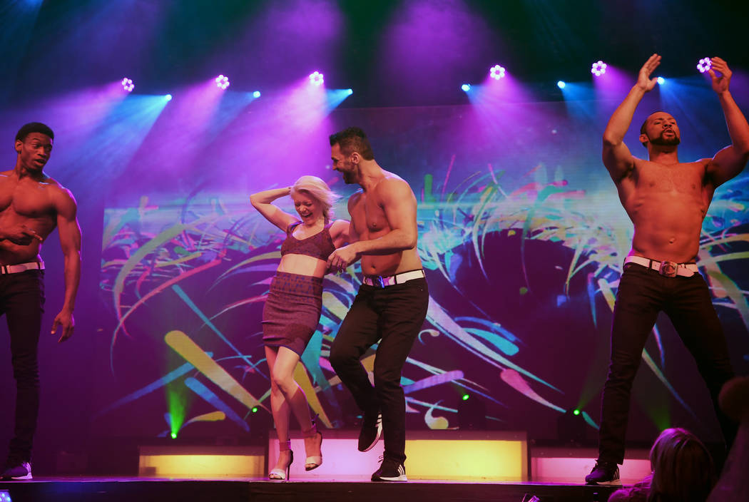 """Dancer Tony Dovolani from """"Dancing With The Stars"""" performs with Ruby Lewis in Chippendales at Rio All-Suite Hotel & Casino on April 20, 2018 in Las Vegas, Nevada. (Denise Truscello)"""