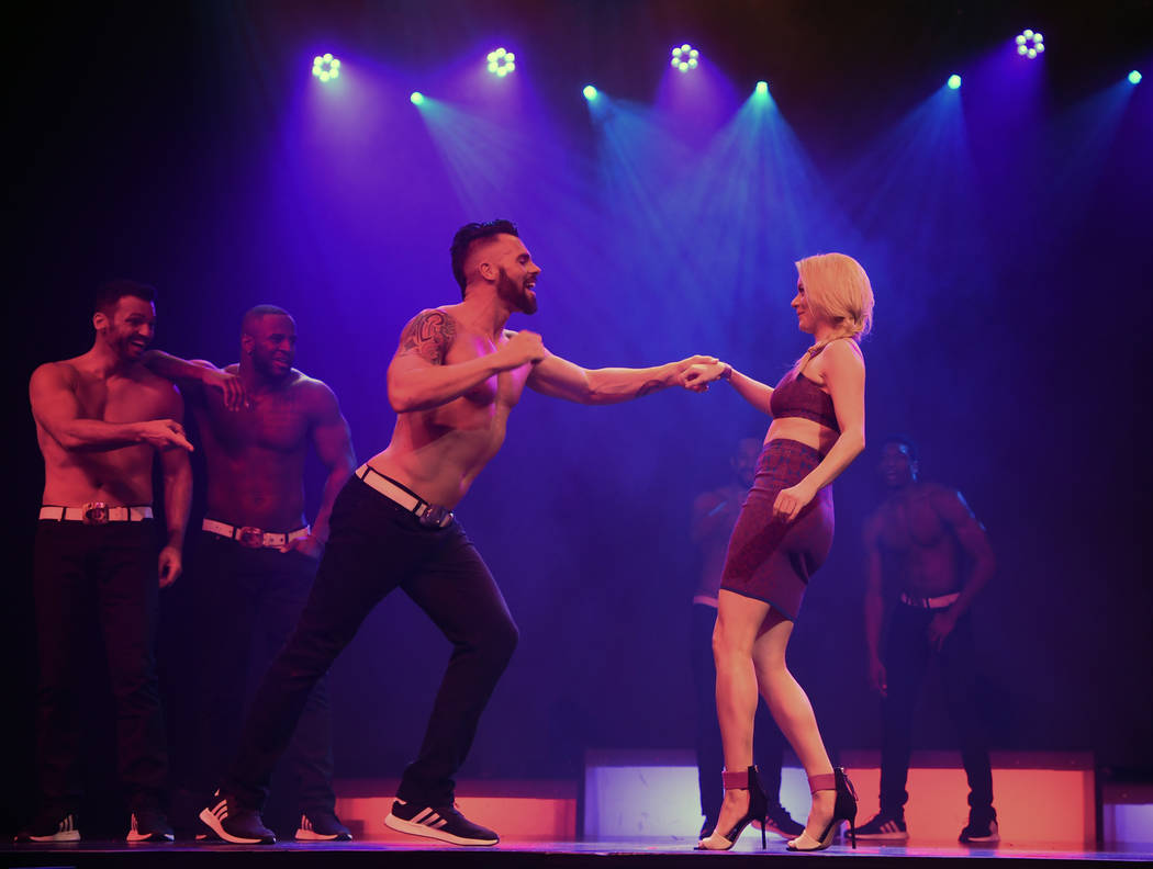 Dancer Ryan Kelsey performs with Ruby Lewis in Chippendales at Rio All-Suite Hotel & Casino on April 20, 2018 in Las Vegas, Nevada. (Denise Truscello)
