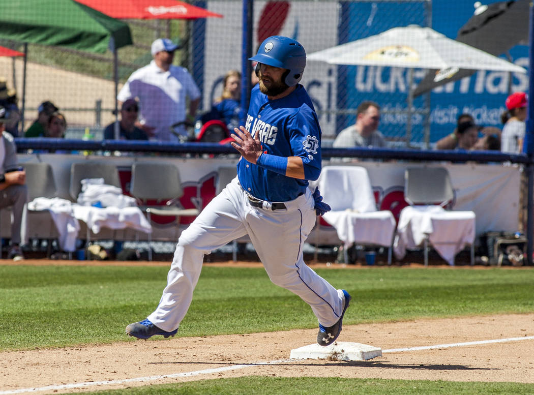 51s left fielder Bryce Brentz rounds third base and scores a run against the El Paso Chihuahuas during the seventh inning at Cashman Field in Las Vegas on Sunday, April 22, 2018. Patrick Connoll ...