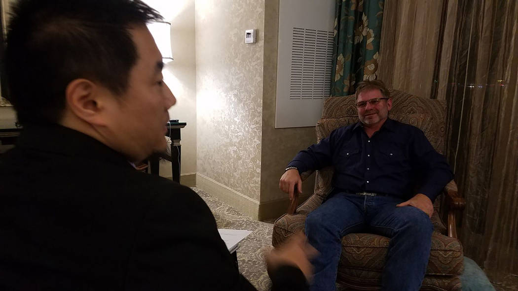 "Charlie Minn, left, interviews Randy Rau in the documentary ""A Nightmare in Las Vegas."" (Dreamscape Media)"