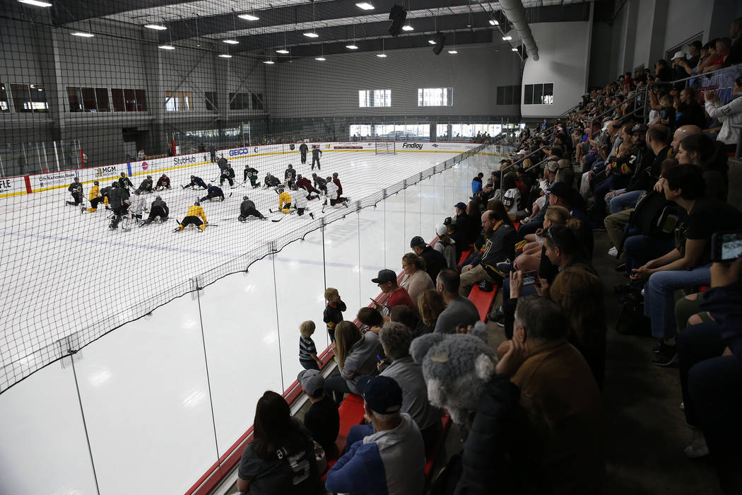 Fans watch the Vegas Golden Knights practice at City National Arena in Las Vegas, Saturday, April 21, 2018. Erik Verduzco Las Vegas Review-Journal @Erik_Verduzco