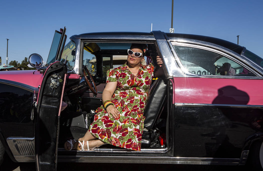 """Martha Garcia of Sacramento, Calif., sits inside of a 1955 Ford Crown Victoria Skyline named """"Rose"""" at Viva Las Vegas at The Orleans on Saturday, April 21, 2018. Patrick Connolly Las V ..."""