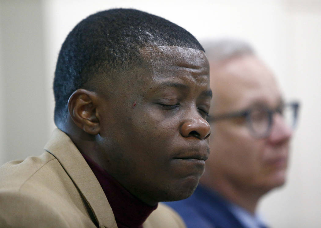 Hero James Shaw holds back tears during a press conference on the Waffle House shooting Sunday, April 22, 2018 in Nashville, Tenn. Behind Shaw is Nashville Metro Mayor David Briley. (Wade Payn/Th ...