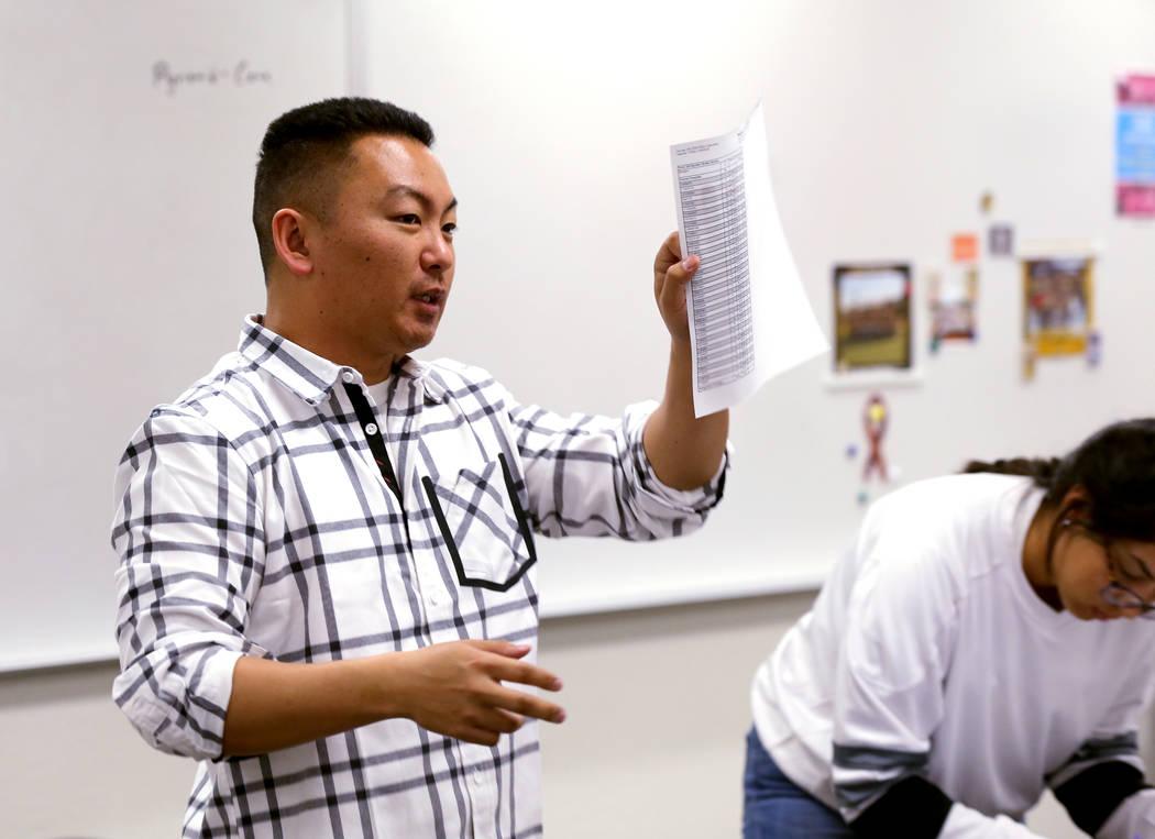 Clark High School teacher Charlie Tang wraps up geometry class Tuesday, April 24, 2018. K.M. Cannon Las Vegas Review-Journal @KMCannonPhoto