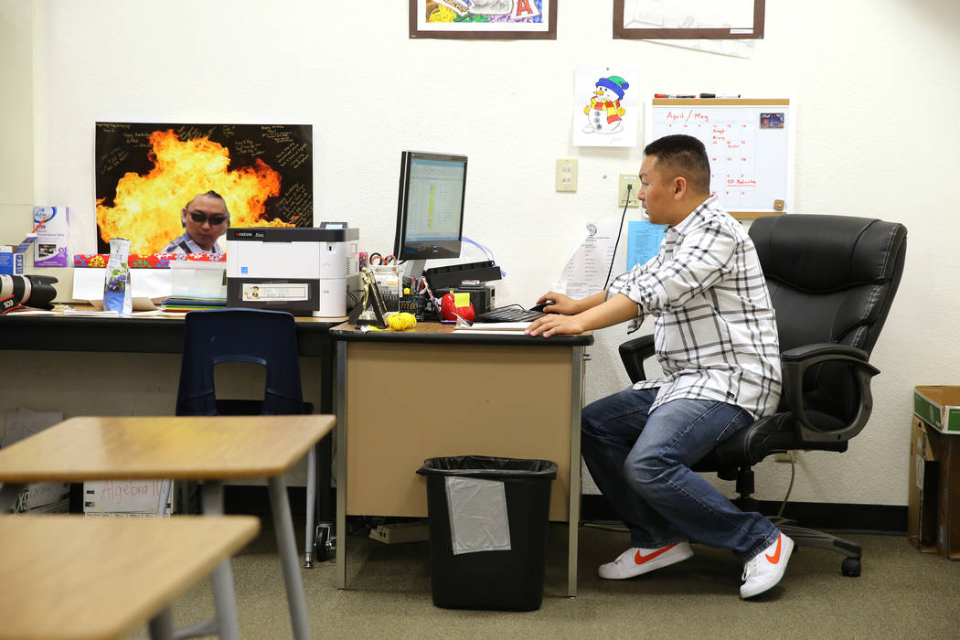 Clark High School teacher Charlie Tang wraps up after his last class of the day Tuesday, April 24, 2018. K.M. Cannon Las Vegas Review-Journal @KMCannonPhoto