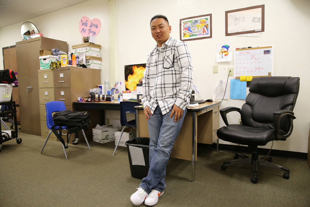 Clark High School teacher Charlie Tang after his last class of the day Tuesday, April 24, 2018. K.M. Cannon Las Vegas Review-Journal @KMCannonPhoto