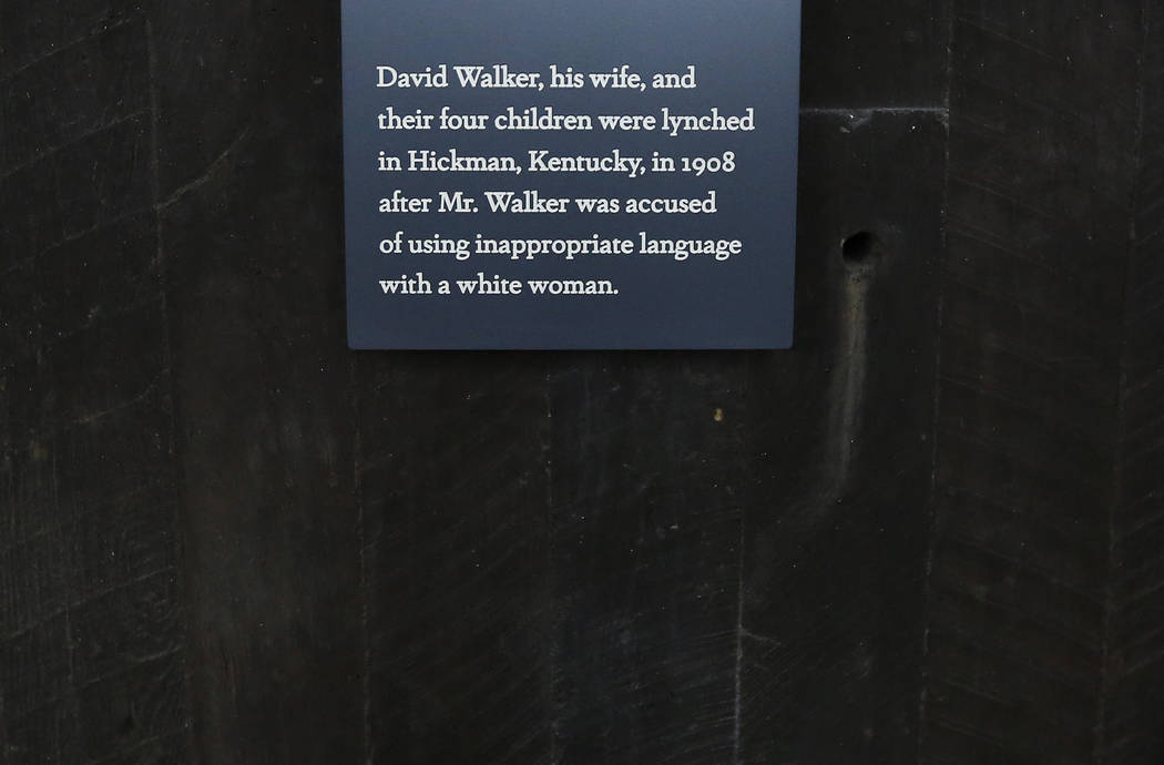 An epitaph is on display at the National Memorial for Peace and Justice, a new memorial to honor thousands of people killed in racist lynchings, Sunday, April 22, 2018, in Montgomery, Alabama. (Br ...