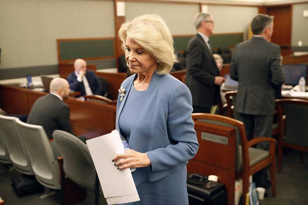 Elaine Wynn, ex-wife of Steve Wynn, leaves a hearing Wednesday, March 28, 2018, in Las Vegas. Elaine Wynn continues her fight to change the Wynn board, calling on shareholders to withhold their vo ...